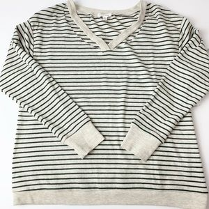 NEW! Honey Punch Cut Out V Neck Striped Sweater